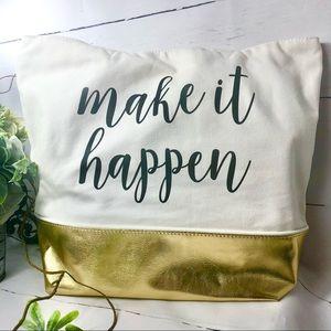 """Canvas Cream and Gold Tote """"Make It Happen"""""""